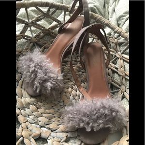 Topshop Shearling Chunky Heel Sandal SO COOL! 36